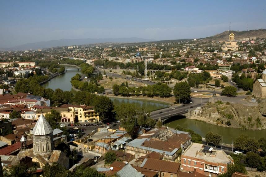 Kura River in the central part of Tbilisi
